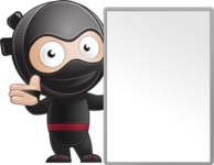 Cute Simple Style Ninja Cartoon Vector Character AKA Ami - Sign 6
