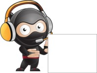 Cute Simple Style Ninja Cartoon Vector Character AKA Ami - Sign 7