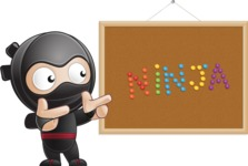 Cute Simple Style Ninja Cartoon Vector Character AKA Ami - Presentation 5