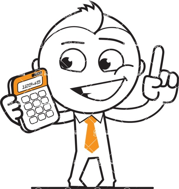 outline vector cartoon character - Calculator
