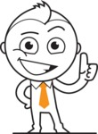 outline vector cartoon character - outline vector design male cartoon character thumbs up