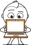 outline vector cartoon character - Laptop 3