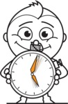 outline vector cartoon character - outline vector character design clock time hurry