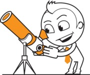 outline vector cartoon character - outline vector male character design with a telescope