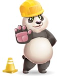 Cute Panda Vector Cartoon Character - as a Construction worker