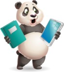 Cute Panda Vector Cartoon Character - Choosing between Book and Tablet