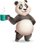Cute Panda Vector Cartoon Character - Drinking Coffee