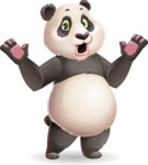 Cute Panda Vector Cartoon Character - Feeling Shocked
