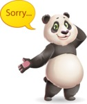 Cute Panda Vector Cartoon Character - Feeling sorry