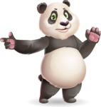 Cute Panda Vector Cartoon Character - Finger pointing with angry face