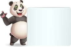 Cute Panda Vector Cartoon Character - Holding a Blank sign and Pointing