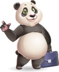 Cute Panda Vector Cartoon Character - Holding a briefcase
