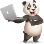 Cute Panda Vector Cartoon Character - Holding a laptop