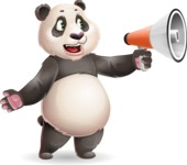 Cute Panda Vector Cartoon Character - Holding a Loudspeaker