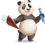 Cute Panda Vector Cartoon Character - Holding a notepad with pencil