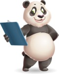 Cute Panda Vector Cartoon Character - Holding a notepad