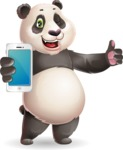 Cute Panda Vector Cartoon Character - Holding a smartphone