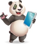 Cute Panda Vector Cartoon Character - Holding an iPad