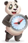 Cute Panda Vector Cartoon Character - Holding clock