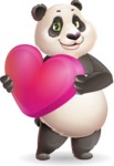 Cute Panda Vector Cartoon Character - Holding heart