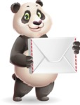 Cute Panda Vector Cartoon Character - Holding mail envelope
