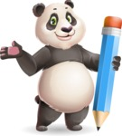 Cute Panda Vector Cartoon Character - Holding Pencil