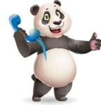 Cute Panda Vector Cartoon Character - Holding phone with thumbs up
