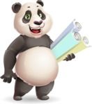 Cute Panda Vector Cartoon Character - Holding Plans