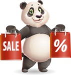 Cute Panda Vector Cartoon Character - Holding shopping bags