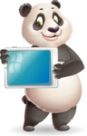 Cute Panda Vector Cartoon Character - Holding tablet