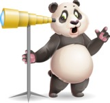 Cute Panda Vector Cartoon Character - Looking through telescope