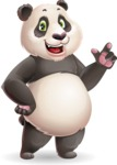 Cute Panda Vector Cartoon Character - Making a point