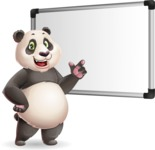 Cute Panda Vector Cartoon Character - Making a Presentation on a Blank white board