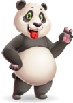 Cute Panda Vector Cartoon Character - Making Funny face