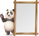 Cute Panda Vector Cartoon Character - Making peace sign with Big Presentation board
