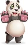 Cute Panda Vector Cartoon Character - Making stop gesture with both hands
