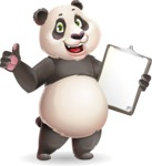 Cute Panda Vector Cartoon Character - Making thumbs up with notepad