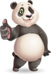 Cute Panda Vector Cartoon Character - Making Thumbs Up