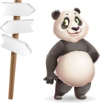 Cute Panda Vector Cartoon Character - on a Crossroad with sign pointing in all directions