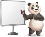 Cute Panda Vector Cartoon Character - Pointing on a Blank whiteboard