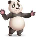 Cute Panda Vector Cartoon Character - Pointing with a fnger