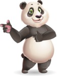 Cute Panda Vector Cartoon Character - Pointing with both hands
