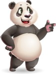 Cute Panda Vector Cartoon Character - Pointing with left hand