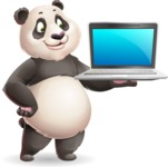 Cute Panda Vector Cartoon Character - Presenting on laptop