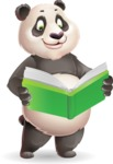 Cute Panda Vector Cartoon Character - Reading a book