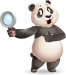 Cute Panda Vector Cartoon Character - Searching with magnifying glass