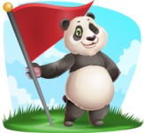 Cute Panda Vector Cartoon Character - Shape 9