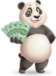 Cute Panda Vector Cartoon Character - Show me the Money