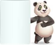 Cute Panda Vector Cartoon Character - Showing Big Blank banner