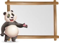 Cute Panda Vector Cartoon Character - Showing on Big whiteboard